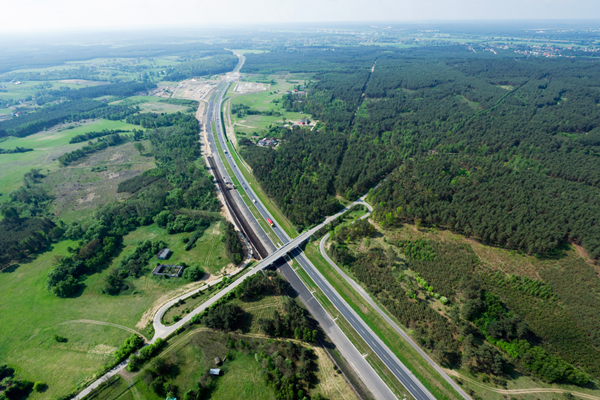 A1 highway Poland from above