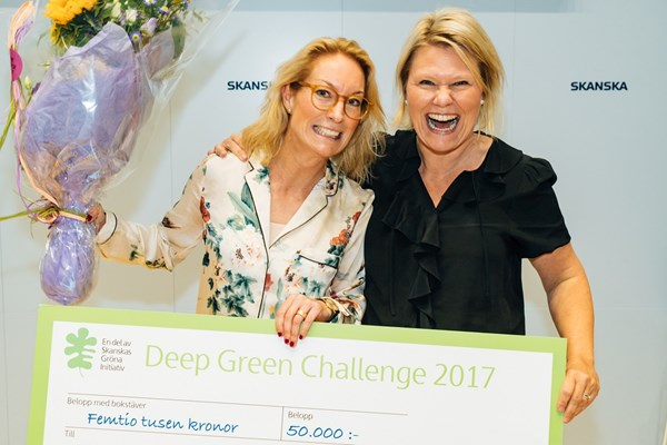 Lina Blanking and Sara Sterner from Orbital Systems at the conclusion of the Deep Green Challenge 2017.