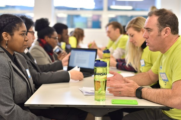 A Skanska volunteer and a female student attending South Bank University Technical College in Brixton in the United Kingdom have a one-to-one interview to prepare her for her first step to a career in construction.