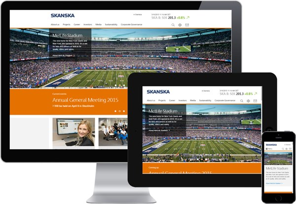 Skanska Group website optimized for all devices