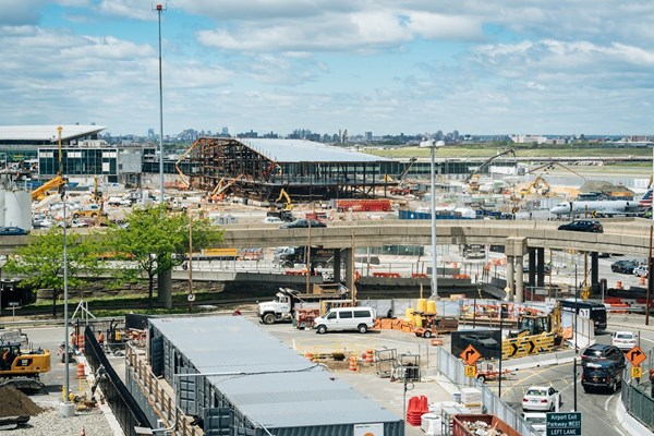 Construction site of LaGuardia airport in New York, USA.