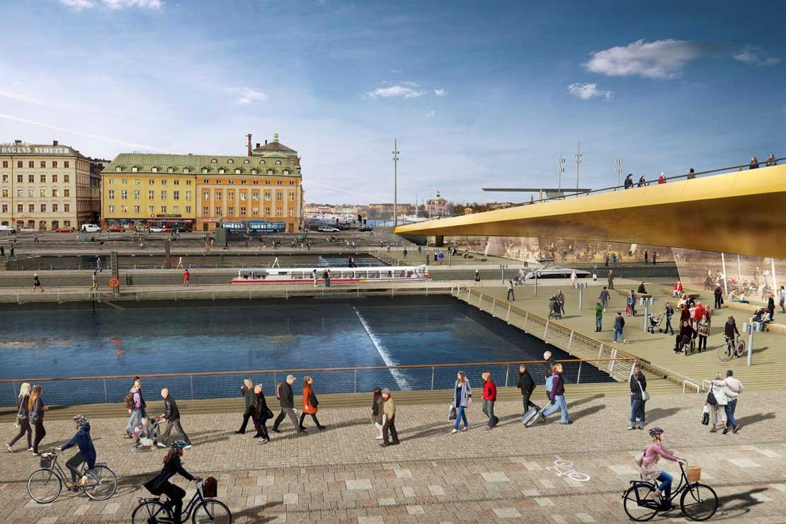 Rendering of the new Slussen bridge