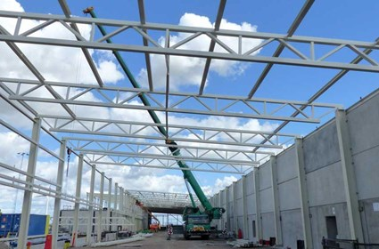 Steel structure for the ESS Klystron Gallery.