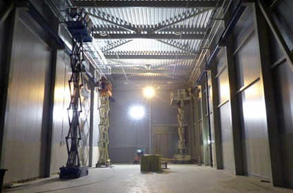 The Loading Hall in the Klystron Gallery, containing an overhead crane for lifting heavy equipment.