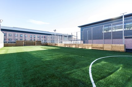 One of the outdoor sports pitches at HMP Grampian