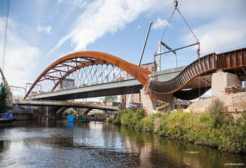 Ordsall Chord network arch bridge.  credit: Matthew Nichol