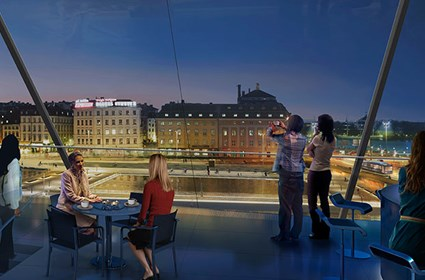 Panorama view: View over the water area and the Old Town from the buildings on Södermalmstorg (source: Foster+Partners 2014)