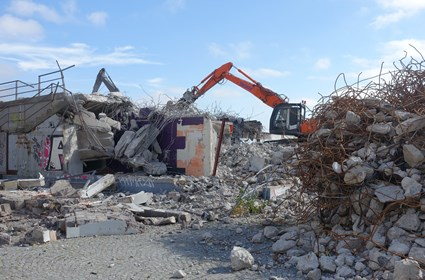 Demolition of the premises formally used by Debaser nightclub, at Slussplan, August 2016